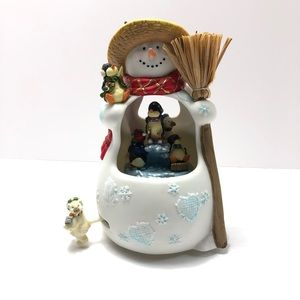 Traditions Musical Snowman Porcelain Figurine